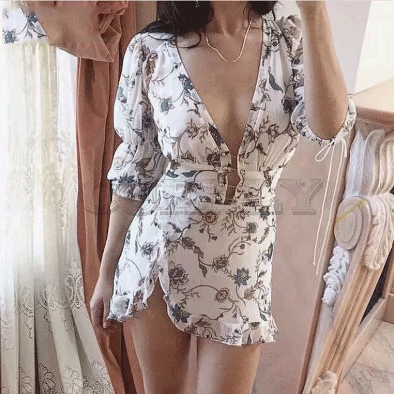 Cuerly 2019 trendy gold rope print buttons asymmetrical dress women summer v neck short sleeve ruffle party club mini dresses in Dresses from Women 39 s Clothing