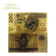 1 sztuk/partia Nice Color polska banknoty 200 Bill PLN złote banknoty w 24k pozłacane repliki pieniędzy papierowych do kolekcji