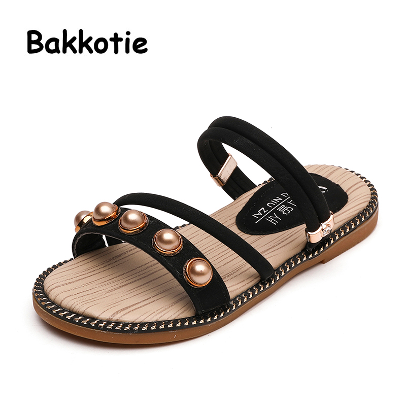 Bakkotie 2018 Summer Fashion New Mules Baby Girl Pearl Slipper Toddler Black Rhinestone Shoe Little Kid Slip On Shoe Child Slide ...