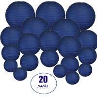 """20 stücke 6 """"-12"""" Navy Blau Papier Laterne Chinesischen Japanischen Runde lampion für Hochzeit Party lanterne papier shower Hängen Dekor"""