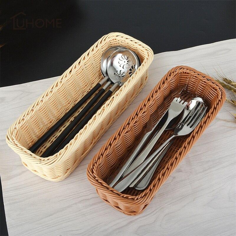 Square Rattan Bread Basket Fruit Food Fork Spoon Knife Storage Basket Holder for Restaurant Wedding Table Decoration 3 Size