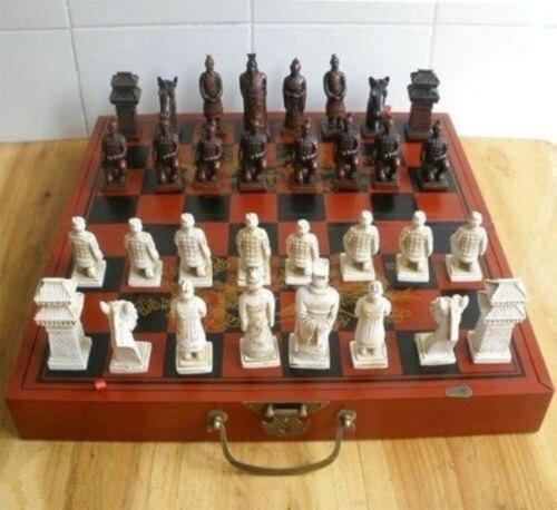 Chinese 32 pieces chess set/box/Xian Terracota Warrior|Statues & Sculptures| |  - title=