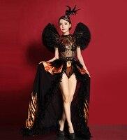 Для женщин золото блестящие блесток боди сексуальный перспектива перо Платья вечерние танцевальный костюм для ночного клуба длинный хвост