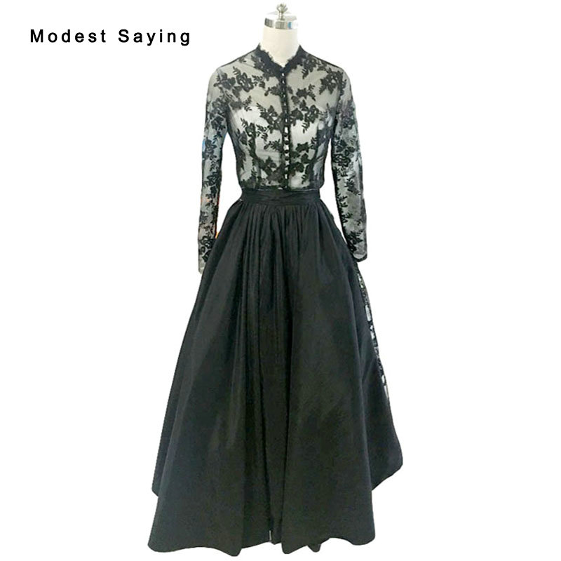 Gothic Witch Black Ball font b Gown b font High Neck Long Sleeve Lace Party font