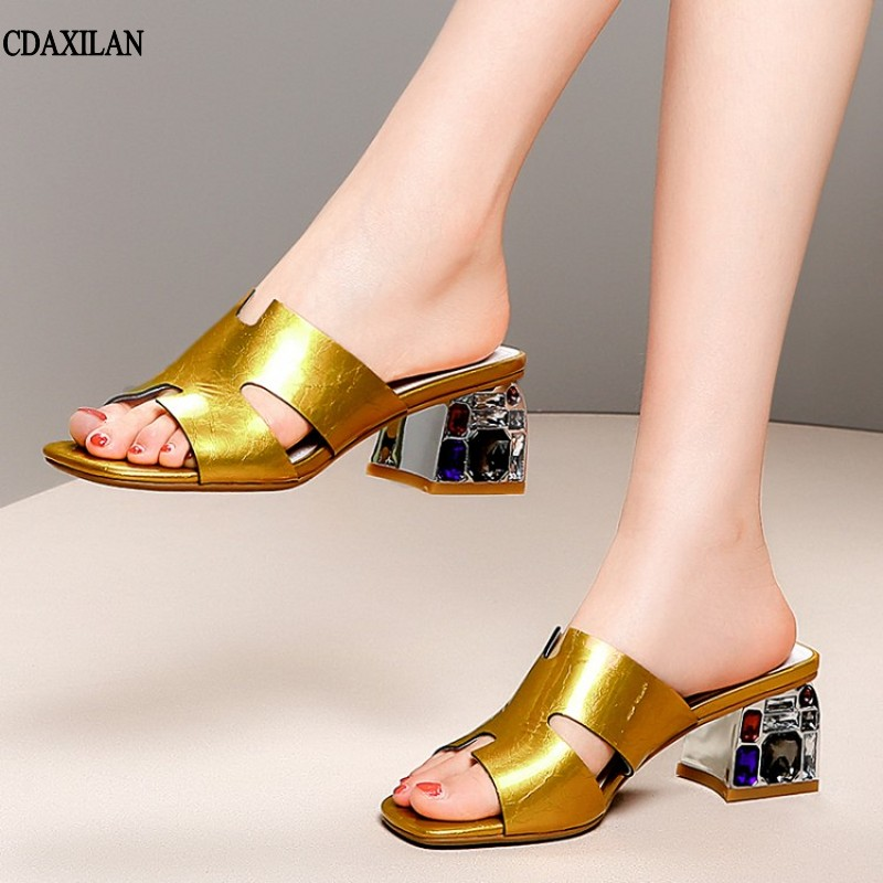 CDAXILAN new arrivals slippers women fashion genuine leather square heel middle heels white golden diamond slipper sweet ladies