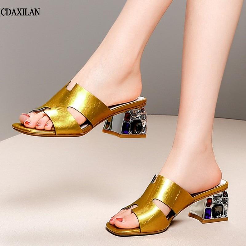 Golden Cuero Medio Genuino Señoras Oro Moda Tacones Llegadas Diamante Tacón Nuevas De Zapatillas white Cuadrado Cdaxilan Mujer Blanco Y4gvaxq