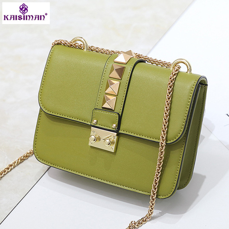 Hottest 2018 Luxury Brand Leather Women Messenger Bags Rivet Chain Small Flap Shoulder Bag Solid Color Famous Design Handbag Sac