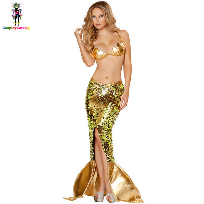 Sexy Sea Siren Costumes Halloween Mermaid Costume Adult Women Push Up Bra Seashell Shaped Bikini Top Deluxe Sequin Mermaid Skirt