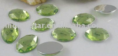 FREE SHIPPING 300PCS Pale green Faceted OVAL Acrylic Rhinestone Flatback M1824