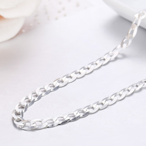 Image 3 - 45cm 80cm Ultra thin 925 Sterling Silver Curb Chain Link Necklaces Women Men Jewelry collares kolye Collier 4mm 7.5mm ketting