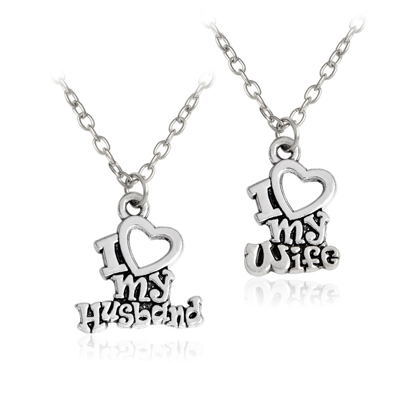 Anniversary Letter To My Husband.Us 2 16 30 Off Letter I Love My Husband I Love My Wife Couple Pendant Necklace Personalized Stylish Couple Necklaces Anniversary Gift In Pendant
