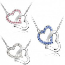 Free Shipping Austrian crystal jewelry factory outlets with K heart to heart pendant necklace silver pink 048