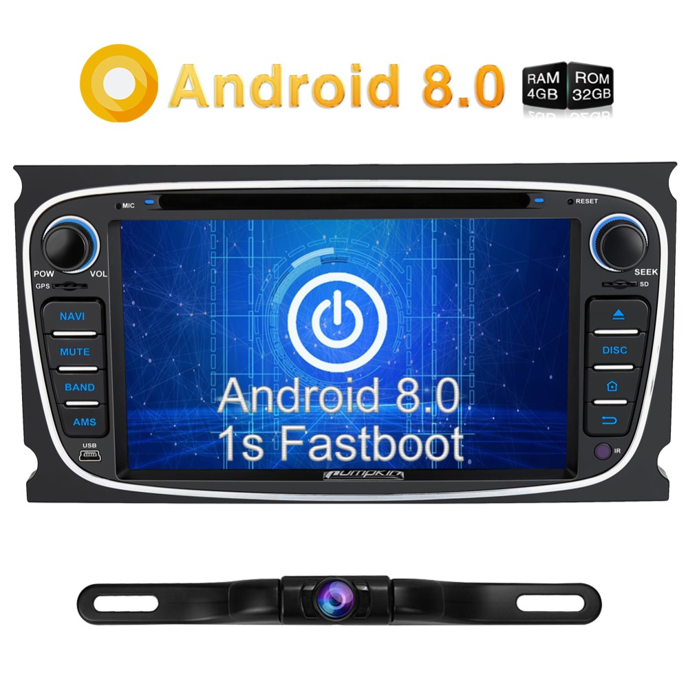 Pumpkin 2 Din 7'' Android 8.0 Car Radio DVD Player Qcta-Core 4GB RAM Car Stereo For Ford Focus GPS Navigation Radio Audio Player pumpkin autoplay for android car dvd player system car radio above version 5 1 and above ios 7 1 for iphone carplay