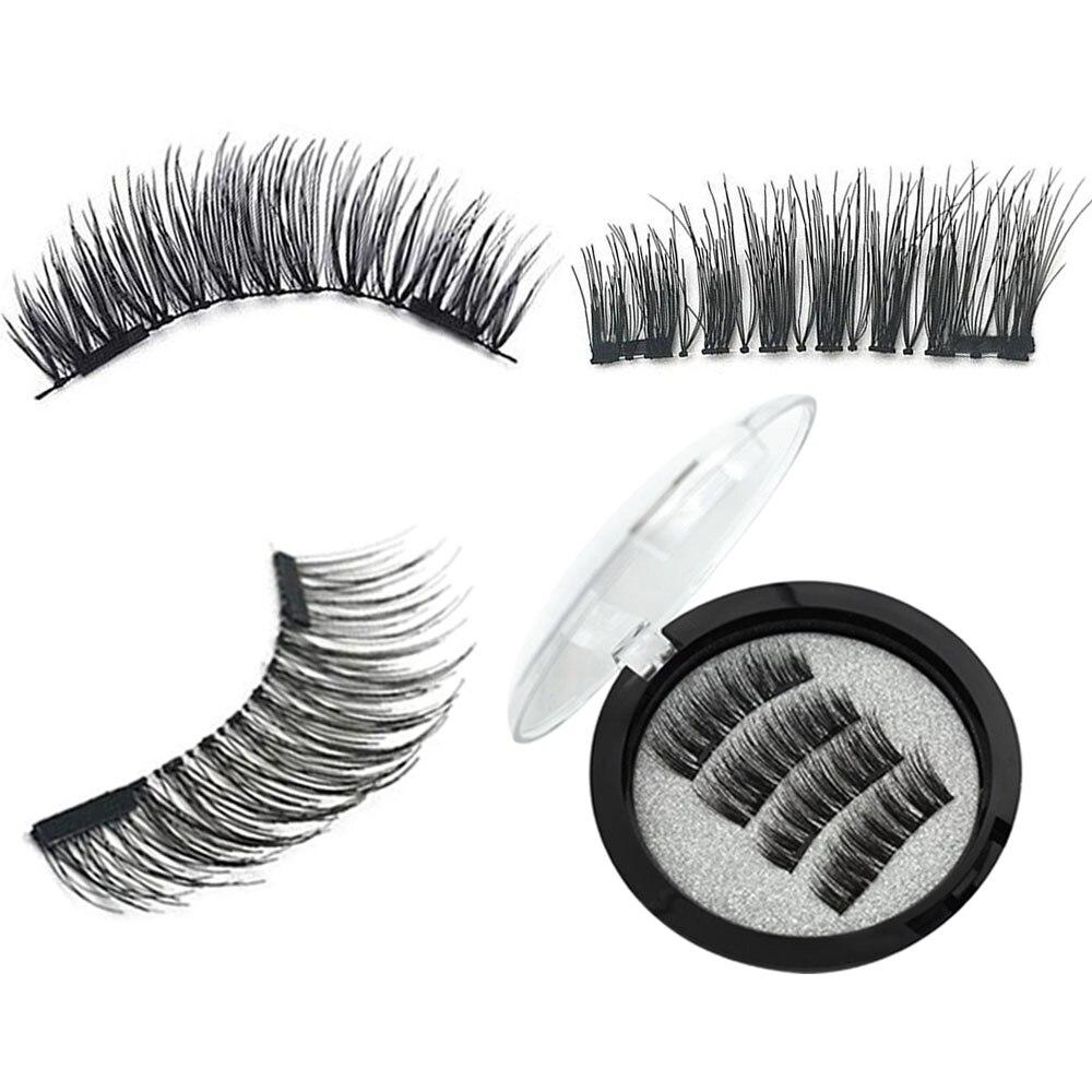 2 Pairs/set Black Natural False Eyelashes Thick Magnetic Lashes With 2 Magnets Extention False Eyelash 3D/6D Long Magnet Lashes