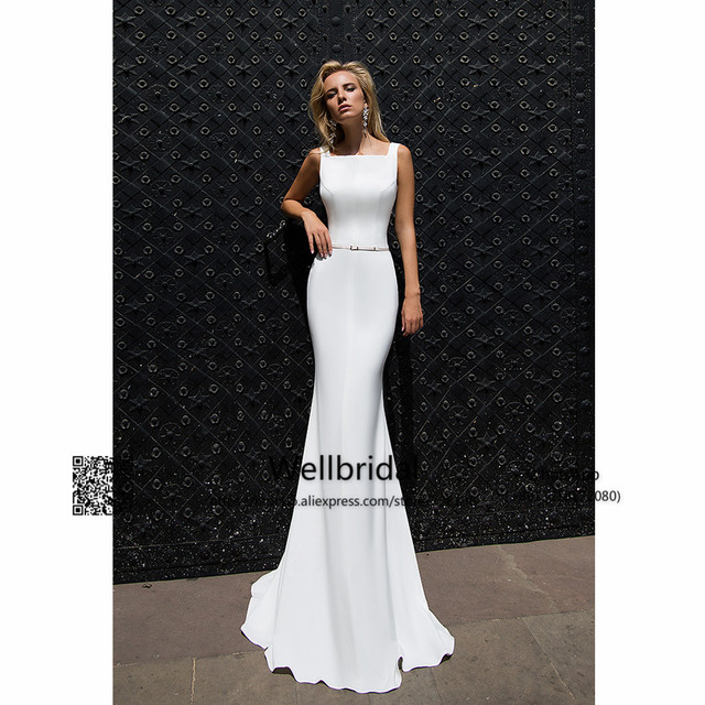 New 2017 Mermaid Gown Wedding Dress Belt Square Neck Vestidos de ...