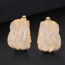 Stud-Earring Cubic-Zircon Cross-Lines Women Luxury Colorful GODKI for Wedding-Dubai Gold