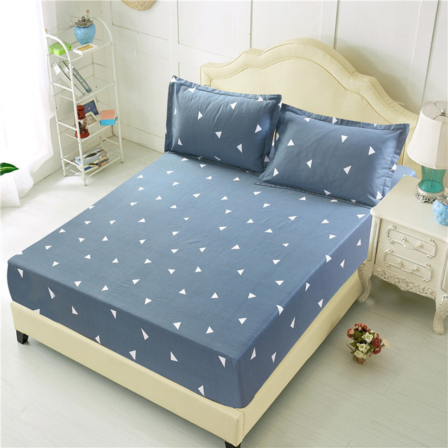 Blue Flower Printed Queen Size Fitted bed cover sheet | online brands