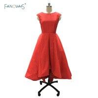 Arabic High Neck High Low Matte Satin Red Prom Dresses Red Evening Dresses High Low Prom Party Gown vestido de festa ASAE56