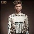 Мужчины в одежда весна марка цветочный принт приталенный длинная рукавами beige прилив рубашка! M-xxl /