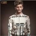 Hot men's clothing 2014 spring brand fashion floral print Slim long-sleeved beige tide shirt  ! M-XXL / Free shipping !