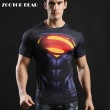 Superman Printed Tshirts Men Compression Tops Fitness T-shirts 2017 Novelty Slim Summer Tight Tee Superhero Crossfit ZOOTOP BEAR