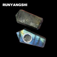 цена на Labradorite Small Smoking Pipe Natural Stones and Minerals with Strainer Hand-Made 1 Pc Wholsale Smoke Pipe Runyangshi ML01