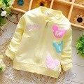 2016 Primavera Outono Jaquetas meninas camisola letra Dos Desenhos Animados do bebê crianças Casaco crianças Outwear casaco