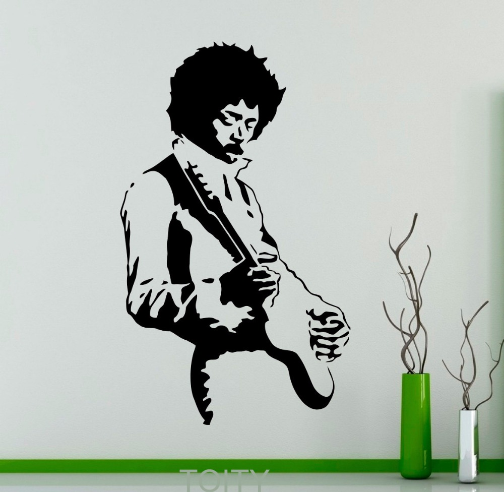Jimi hendrix wall sticker rock music guitarist vinyl decal for Baby boy tupac mural