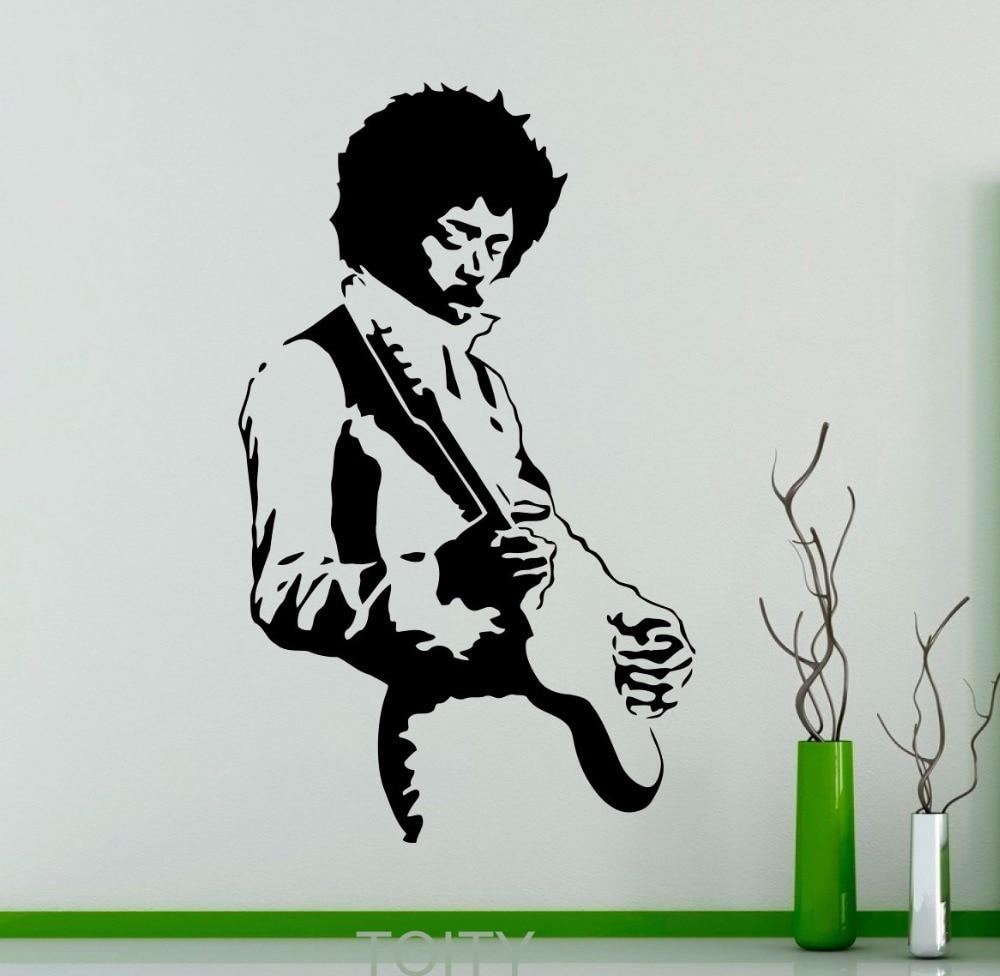 Jimi Hendrix Wall Sticker Rock Music Guitarist Vinyl Decal ...
