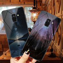 For Samsung Galaxy A8 2018 Star Moon pattern phone glass case 5.6 inch Soft border fashion