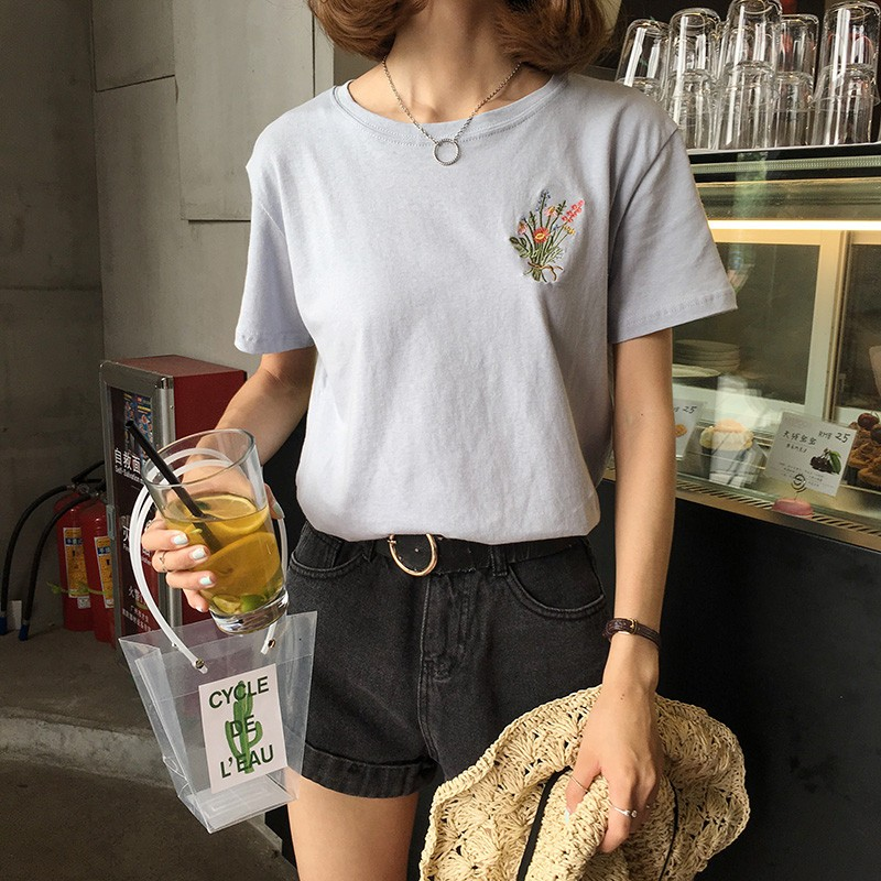 HTB1zrz.NpXXXXXXXFXXq6xXFXXXf - Japanese Brief Flower Embroidery Women T shirt PTC 346