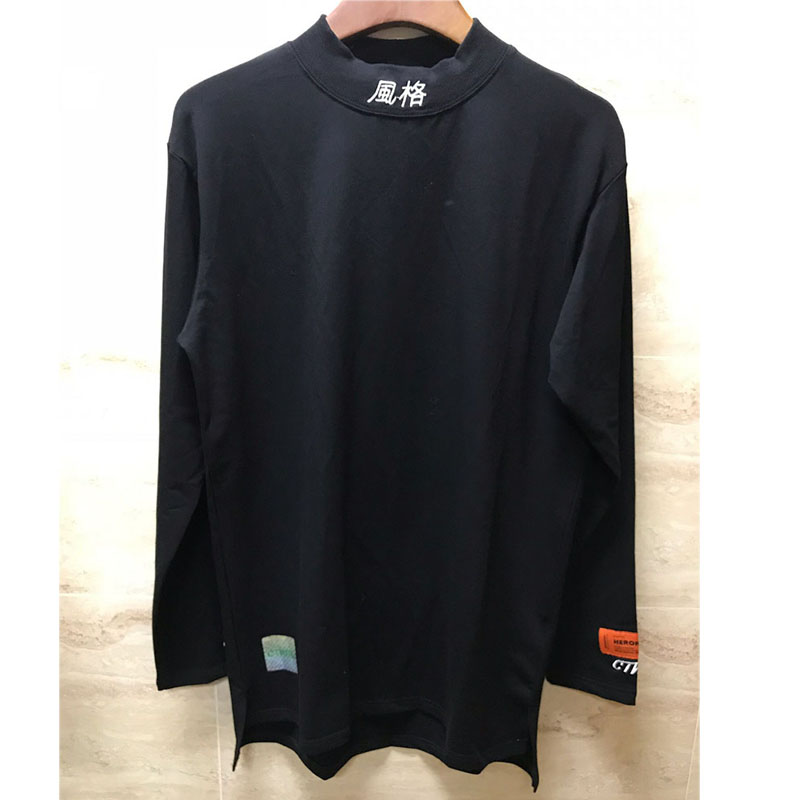 92f7f884eec6 2019 Newese Heron Preston T Shirts Men Women 1:1 Fashion Embroidery High  Collar Emerald Green Heron Preston Long Sleeves T Shirt-in T-Shirts from  Men's ...