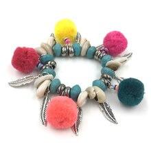 Новые богемные пляжные браслеты для женщин с цветными помпонами