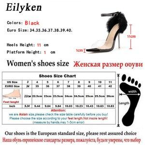 Image 5 - Eilyken Summer Sexy Sandals PVC Transparent Rhinestone Buckle Pointed Open Toe Fashion Crystal Heel Women Sandals Shoes Size 42