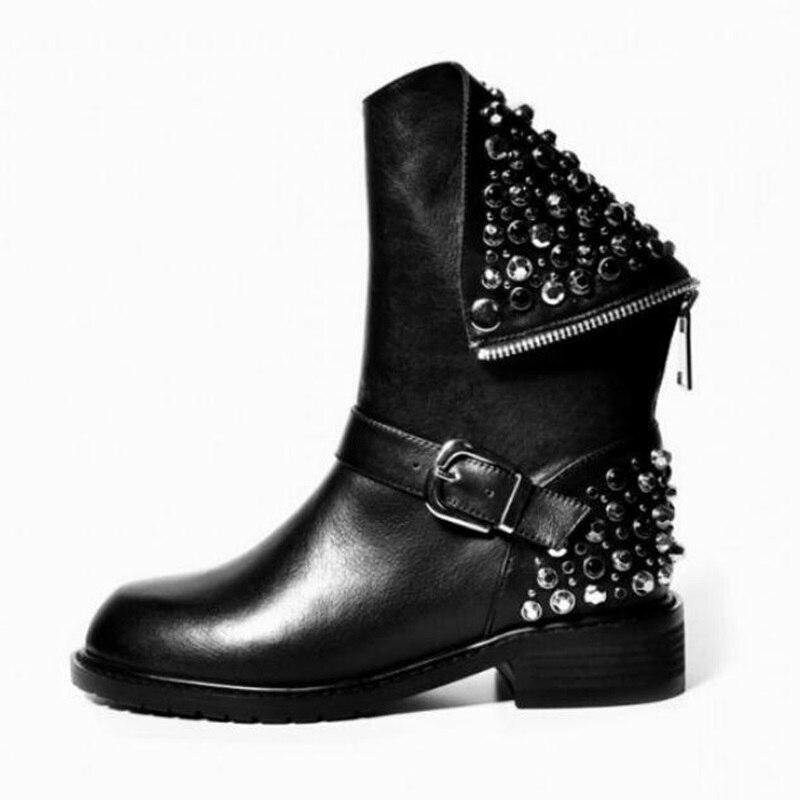 Luxury Shoes Women Designers Rhinestone Gladiator Black Ankle Boots Flat Heel Rivets Studded Buckle Zip Decor Knight BootsLuxury Shoes Women Designers Rhinestone Gladiator Black Ankle Boots Flat Heel Rivets Studded Buckle Zip Decor Knight Boots