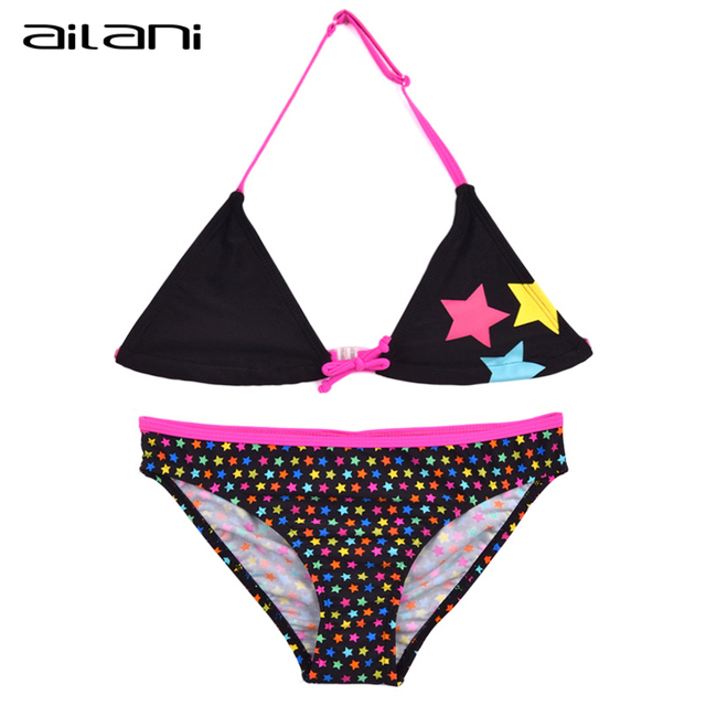eb5fac1beea Designer Kids String Bikini For Teenage Girls Stars Print Princess Swimwear  Children Two Pieces Bathing Suit Girl Swim Clothes