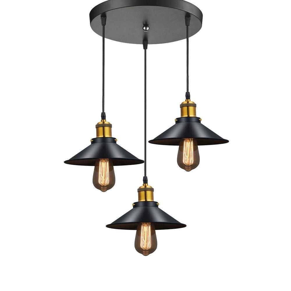 Modern LED Pendant Lamp Black Metal Vintage Lights
