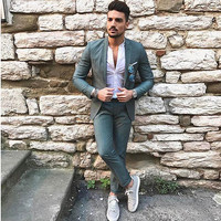Green men suits slim fit classic blazer single breasted simple jackets casual suit wedding party prom street male tuxedos 2 sets