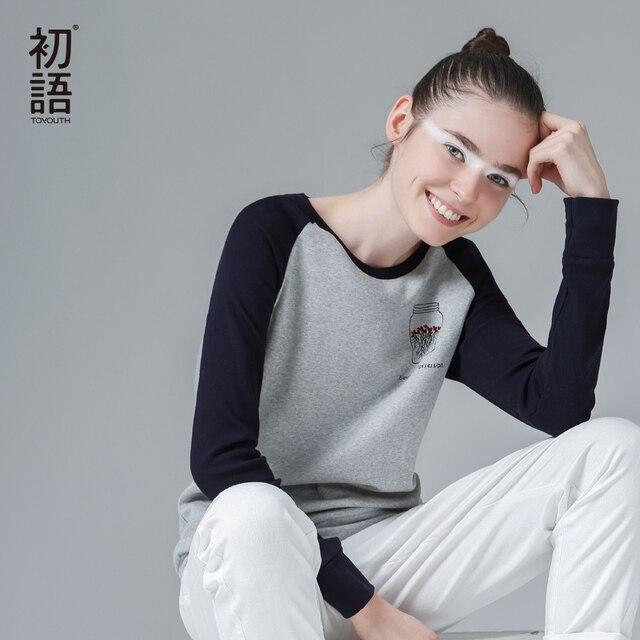 2014 до молодежного бренда весна женщин мода хлопка t- рубашка случайные свободные лоскутное embrodiery длинными рубашка женская ти топ бесплатная доставка