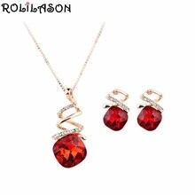Rolilason красный квадратный кристалл Циркон розовое золото костюм весна карнавал кулон цепочки и ожерелья Серьги Подвески Ретро вечерние JS826