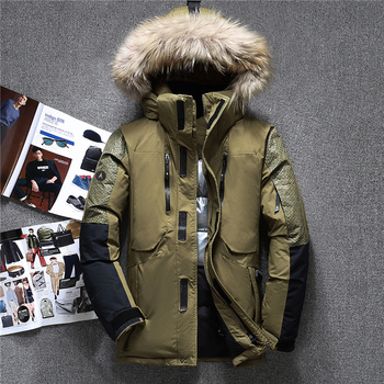 Winter Big Genuine Fur Hooded Duck Down Jackets Men Warm High Quality Down Coats Male Casual Winter Outerwer Down Parkas