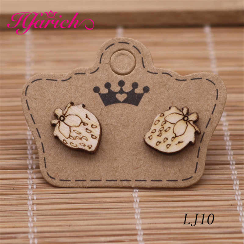 05e5ae0abde37 Hfarich Mix Wood Earrings Stud Cute Brown Small Animal Jewelry Flower Fruit  Earring for Party Birthday Gift for Women Children