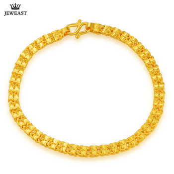 ZSFH 24K Pure Gold Bracelet Real 999 Solid Gold Bangle Fashion Double Row Glossy Trendy Classic Fine Jewelry Hot Sell New 2019 - DISCOUNT ITEM  40% OFF All Category