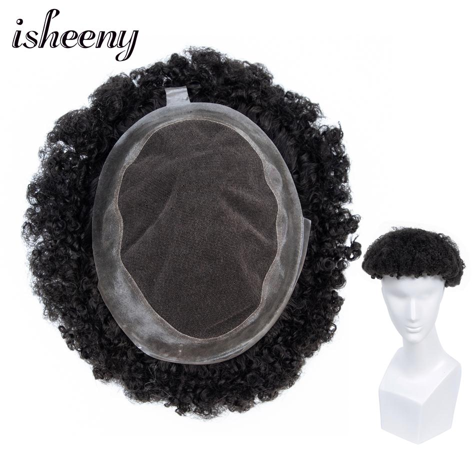 Isheeny Full Bleached Knots French Lace Men Toupee Puff Wig With PU Around 8