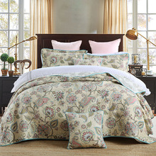 Paisley Printed Bedspread Quilt Set 3PCS Summer Quilted Bedding Cotton Quilts Bed Covers Shams King Queen Size Coverlets Blanket