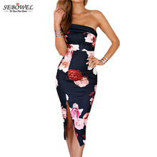 hot deal buy 2017 sexy women summer bodycon dresses hollow out sleeveless party floral print dress sloping off shoulder floral midi dress