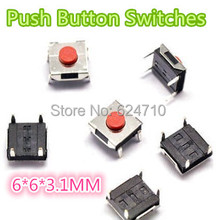 Free shipping 1000PCS 6*6*3.1MM  6mm*6mm*3.1mm Push Button Switches  DIP-4  Tactile Switches Push Button Tact Switch 6x6x3.1mm h015 13 50pcs tactile tact push button micro switch momentary 6 6 6mm smd smt pcb 4 pins free shipping