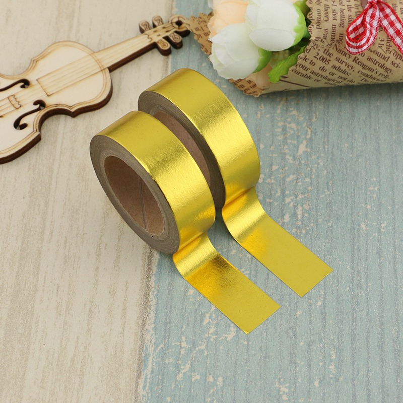 2PCS/lot Decorative Gold Solid Foil Washi Tape Paper For Scrapbook Bullet Journal Adhesive Tape 15mmx10m School Supply Wholesale