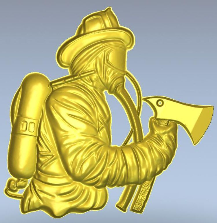 3d Model Relief  For Cnc In STL File Format Firefighter
