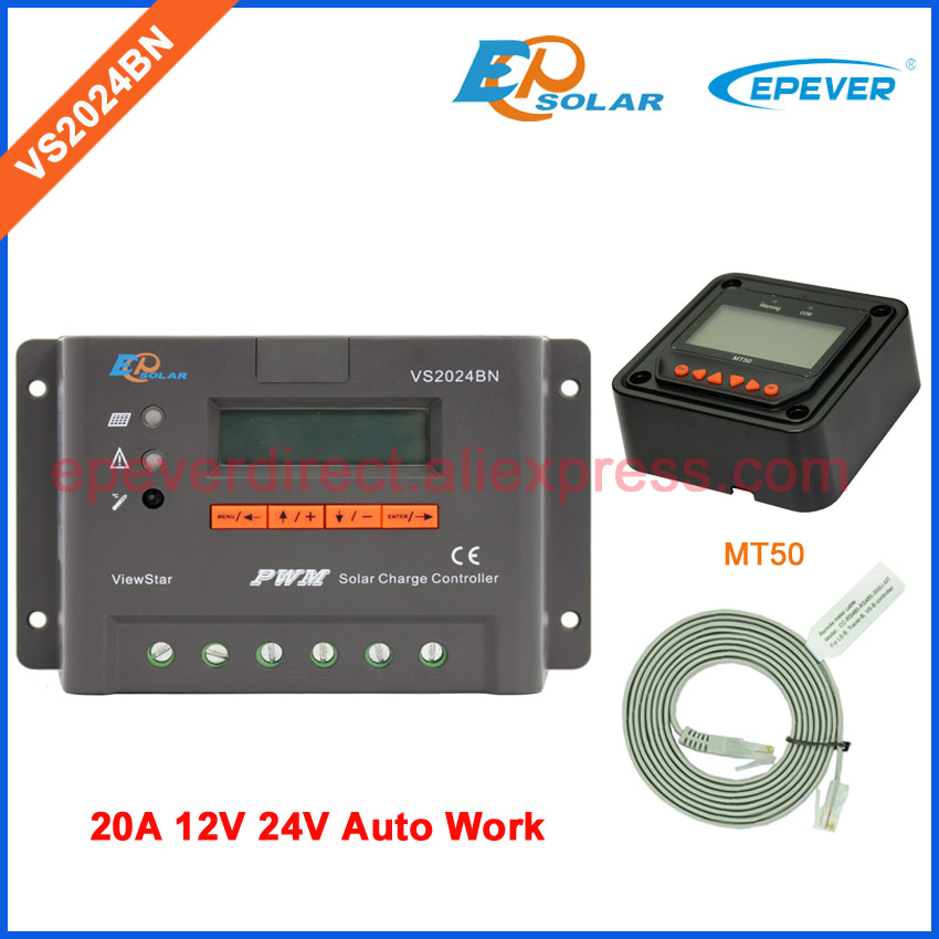 20A EPEVER Solar Charging controller VS2024BN 12V 24V Auto Work With MT50 remote meter black and white colors PWM epever solar charging controller with temperature sensor vs2024bn epsolar pwm controller 20a 12v 24v auto work